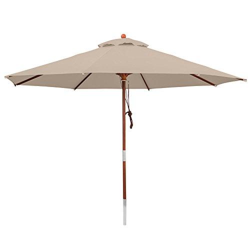 anndora 35003 Sonnenschirm, dunkelnatur, 350 cm rund, Gestell Holz, Bespannung Polyester, 13.5 kg
