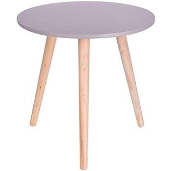Holz Beistelltisch Grau 40x39 Cm Deko Tisch Klein Couchtisch Sofatisch Rund
