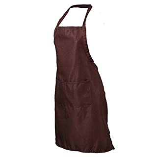 Amybria Women's Chefs Butchers Kitchen Cooking Craft Baking Apron with Front Pocket Brown