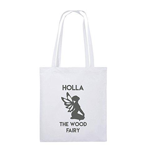 Comedy Bags - HOLLA THE WOOD FAIRY - Jutebeutel - lange Henkel - 38x42cm - Farbe: Schwarz / Pink Weiss / Grau