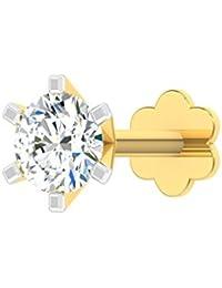 TBZ - The Original 18k (750) Yellow Gold and Diamond Solitaire Screw Nosepin