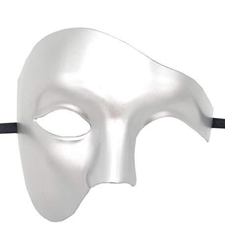 Flywife Hombres Phantom of The Opera Mascarada Máscara Mitad Rostro Vendimia Romano Veneciano Máscara (Plata)