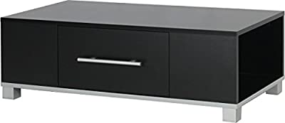 Madison 1 Drawer Occasional Coffee Table with Silver Handles (Black) Flat Pack