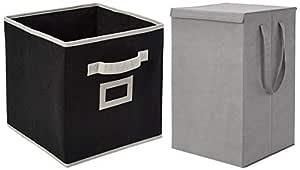 Amazon Brand - Solimo Fabric Foldable Storage Organiser, Black and Fabric Foldable Laundry Organiser, Grey Combo