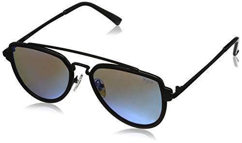 SOJOS Retro Doppelte Metallbrücken Polarized Linse Sonnenbrille für Herren Damen SJ1051 mit Schwarz Rahmen/Blau Polarized Linse