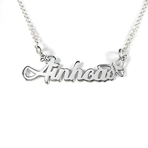 Collar con nombre aro forma Mariposas en plata de ley Personalizado 925 ENVÍO GRATIS