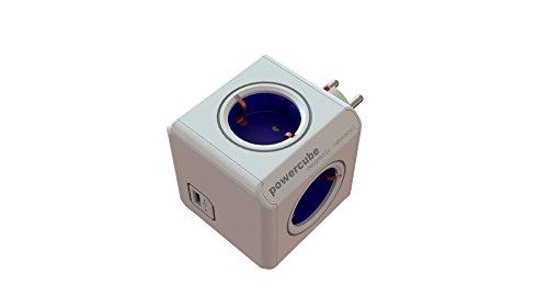 Allocacoc  USB P-CUBE-OR Powercube Original USB Stromverlängerung mit USB (Würfel Design, 4x Verteiler, 230V Schuko) Cobalt blau