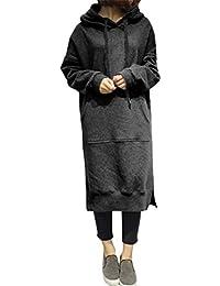 05335a5ed4c8 ShallGood Damen Hoodie Langarm Sweatshirt Lose Lange Sweatkleid Langarm  Hoodies Casual Herbst Kleid Split Warme Hoodies Lang…