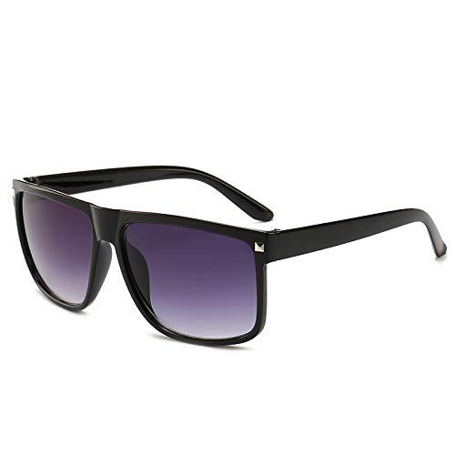 lassische Retro Nieten Sonnenbrille Unisex Big Box Sonnenbrille schwarzer Rahmen doppelte graue Brille ()