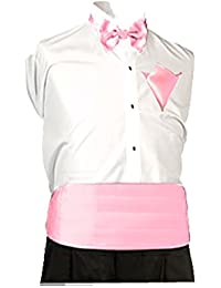 New Sendmart Plain Mens Cummerbund, Bow & Pocket Square, Baby Pink, Size