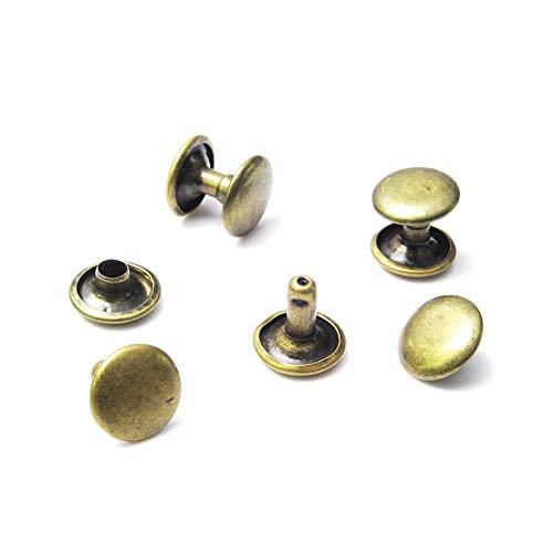 100 Stück 10 mm runde Doppelnieten-Nieten Nieten Nagelspikes Tasche Gürtel Schuhe Kleidung Armband Metall Werkzeug für DIY Punk Lederhandwerk Antique Brass 100pcs