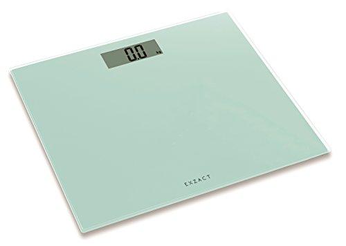 Exzact ColorSlim - Personenwaage/Elektronische Körperwaage/Digitale Badezimmerwaage - Ultra schmal 1.7 cm Dicke -150 kg / 330 lb - farbige Glasplattform (Weiß - Lime White)