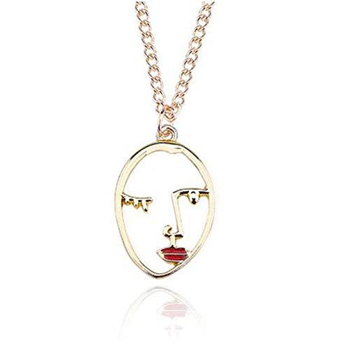 YUFEI Mode einfache Dame Gesicht Silhouette abstrakte Persönlichkeit Anhänger rot Lipgloss hohlen Gesicht Charme weibliche Halskette -