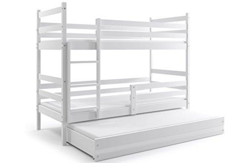Letto triplo ERYK 160X80, lettino a castello con terzo letto estraibile per bambini e ragazzi, cameretta ragazzi, materassi in spugna compresi nel prezzo (Bianco)