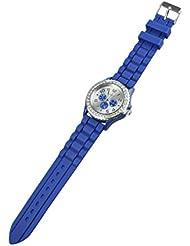 GENEVA Mujeres Cristal Goma Silicona Gel Jalea Reloj Azul Oscuro