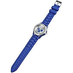 TOOGOO(R) Women's Crystals Rubber Silicone Gel Jelly Watch Dark Blue