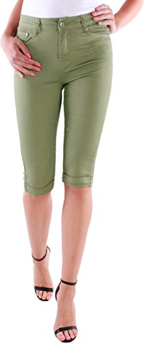Black Denim Damen Capri Hose Caprijeans Sommerhose 3/4 Bermuda Shorts bis Übergröße 38-48 D1a (42/XL, Khaki) -