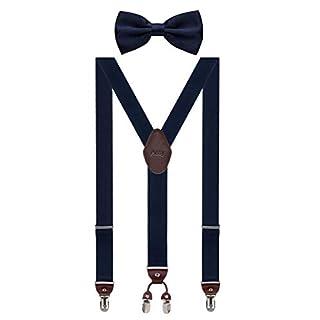 Aissy Herren Hosenträger 3.5cm Y-Form Elastisch und Längenverstellbar Hosenträger Breit mit 4 starken Clips und Fliege für Herren Damen Blau K