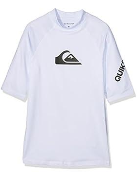 Quiksilver All Time 8-16 Camiseta de Manga Corta UPF 50 Rashguard, Niños, Blanco, XL/16