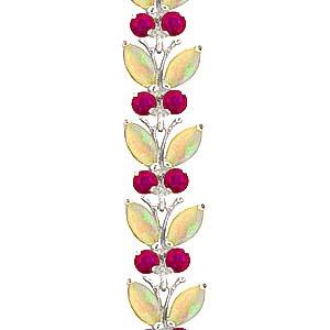 QP joailliers Rubis Naturel & Opale Bracelet en or blanc 9carats, 12ct Coupe Marquise-2629W