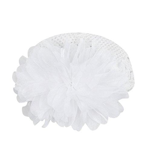 LuckyGirls Wolle Mütze Strick Blume Kleinkinder Baby Mädchen Haarband Stirnband Headwear Hut (Weiß)