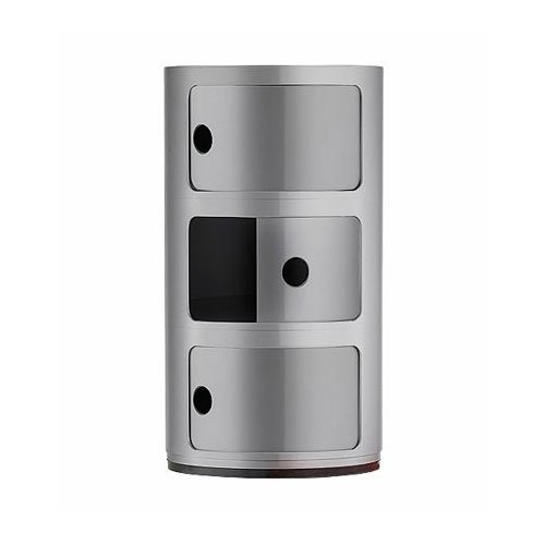 Kartell contenitore componibile a 3 elementi, argento