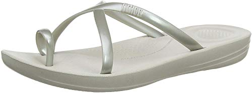 Fitflop Prima Iqushion Cross Slide-Pearlised, Infradito Donna, Argento (Silver 011), 38 EU