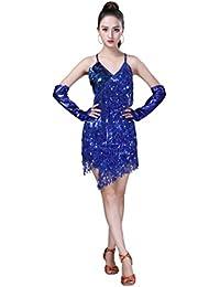 f13b1a5da9be JEELINBORE Donna Vestito Salsa Backless da Ballo Latino Frangia Nappa  Splendente Abito Tango Rumba Valzer