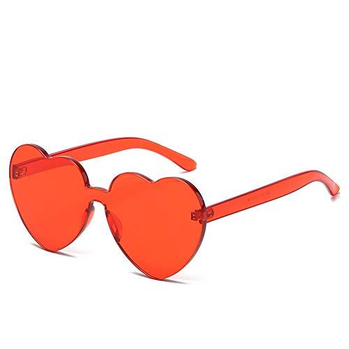 PL-IMK Damen Vintage Sonnenbrillen Neuheit Herz Objektiv Einteiler Große Süße Liebe Damen Retro Eyewear Big Frame Sonnenbrille Unisex (Rot)