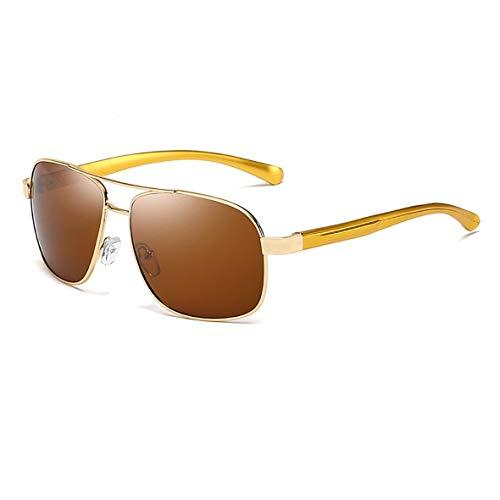 Libertroy Herren Sonnenbrillen Aluminium Magnesium Sonnenbrillen Großhandel Polarized Driving Mirror Angelspiegel Herren Polarized Mirror - Gold Frame Tea