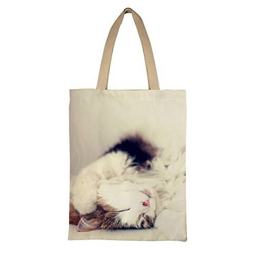 AFUJIN Casual Bag Canvas Umhängetasche Summercanvas Einkaufstasche Double Kitty Color135 * 45Cm - Kitty Shopper Tasche