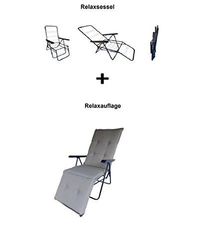 Balke Relaxsessel inklusive Auflage Fulda Rips 64 Schlamm, 5-Fach verstellbar, 170 x 50 x 6 cm