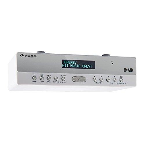 auna KR-100 DAB WH Küchen-Unterbauradio Unterbauradio (DAB+ / FM Radio, 40 Senderspeicherplätze, Eieruhr-Funktion, Dual-Alarm, Bluetooth, Freisprechfunktion, auch Unterbaumontage) weiß (Alarm-radio-bluetooth-uhr)