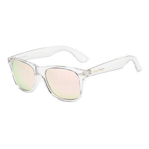 Long Keeper Polarisierte Sonnenbrille Klassische Jahrgang Platz Sonnenbrille für Frauen Männer (Rosa)