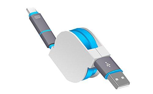 SMTR 2-in-1 cavo ricarica Micro USB & Type-C,Cavo USB retrattile,ultra compatto,lunghezza 1 m,(blu)