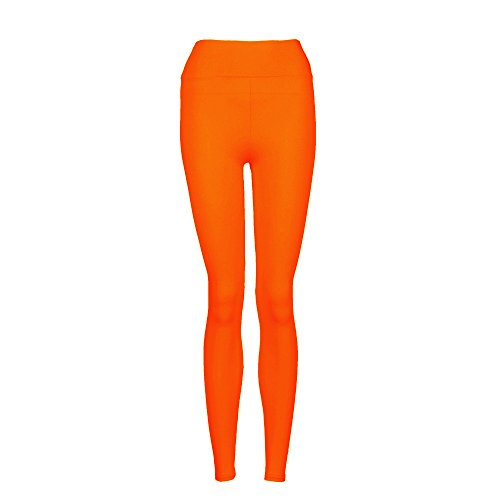 Fami Chaussures de sport YOGA Workout Gym Pantalons de sport Leggings High Waist Fitness Stretch Trousers (Orange)