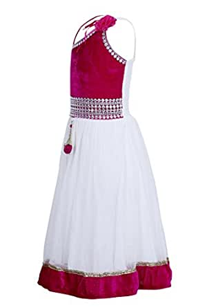 Crazeis Girls Pink and White Studded Party Wear Dress