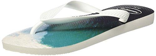 Havaianas Gemusterte Zehentrenner Herren Hype Weiß (White/Navy Blue)