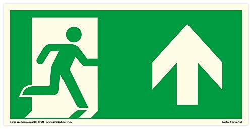 Schild Notausgang rechts aufwärts, geradeaus | extra langnachleuchtend | PVC selbstklebend 297x148mm | gemäß ASR A1.3 DIN 7010 DIN 67510 (Fluchtwegschild Rettungsweg) Dreifke® extra 160