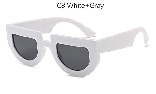 CNSP Brillen,Vintage Sonnenbrillen,Square Vintage Shield Sunglasses Women Fashion Half Frame Sun Glasses For Men Retro small Flat top Yellow Eyeglass Shades,C8 White Gray