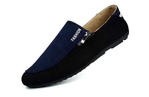 Achion  Fashion Men's Flats Moccasin Loafer Casual Driving Suede Slip on Shoes,  Herren Jungen Knöchel-Riemchen Blau