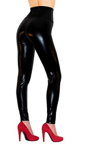 Sodacoda Damen Sexy Kunst-Leder Leggings - Hohe Taille Wet-Look (Lack-Schwarz, M)