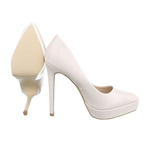 High Heel Damenschuhe Plateau Pfennig-/Stilettoabsatz High Heels Ital-Design Pumps Beige