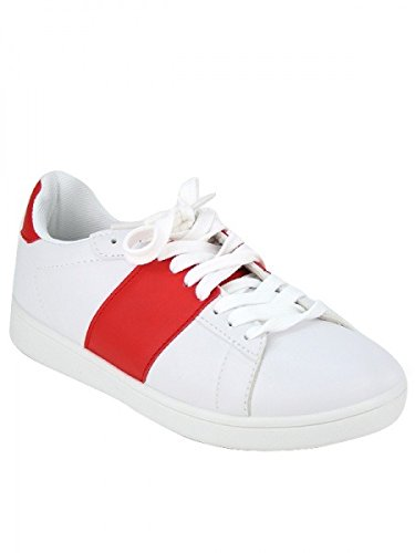 Cendriyon, Basket White and Red CLIP'SER Chaussures Femme Rouge