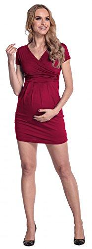 Happy Mama Femme. Robe tulipe de maternité. Convient pour l'allaitement. 806p Cramoisi