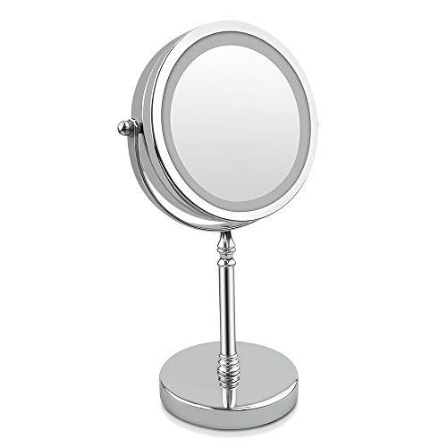 18 LED Kosmetikspiegel 10X Vergrößerung 7 Zoll Beleuchtung Rasierspiegel Batterie Via Touch-Screen Und 360°Rotierbarer Dimmbar Widergespiegelte Metallchromstruktur (Silber,4 Batteriebetrieben)