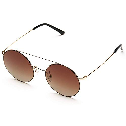 ZTMN Sonnenbrillen Sonnenbrillen-Harz, TS, Retro-Rundrahmen, Doppelbalkendesign, verzinkter Metallrahmen, Männer- und Frauentrend (Farbe: BRAUN)
