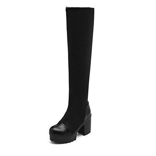 AgooLar Damen Ziehen Auf Blend-Materialien Hoher Absatz Hoch-Spitze Stiefel Schwarz