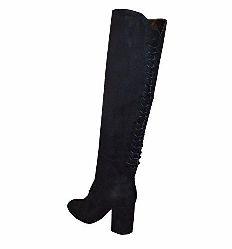 Bottes au-dessus du genou avec lacets et talon épais pour femme Noir - noir