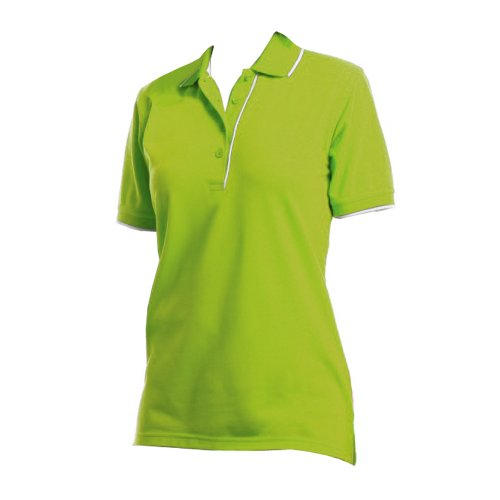 Kustom Kit - Polo Manica Corta - Donna Verde lime/Bianco